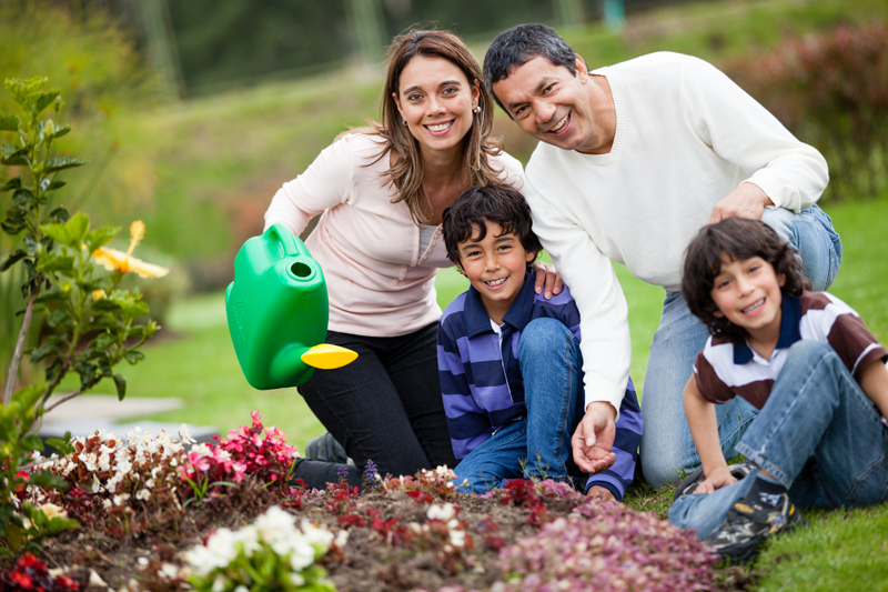 Family Watering The Plants Rent Soft Water